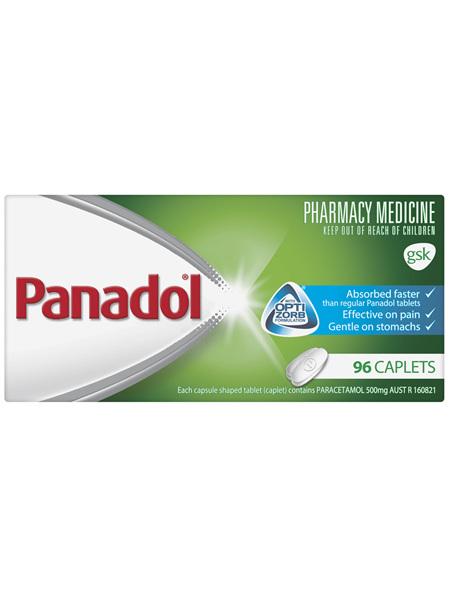 Panadol with Optizorb Formulation, 500 mg paracetamol, 96 caplets (pain relief)
