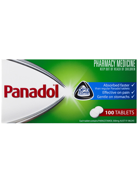 Panadol with Optizorb Formulation, 500 mg Paracetamol, 100 tablets (pain relief)