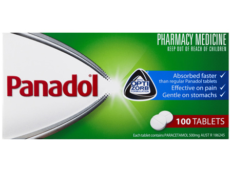 Panadol with Optizorb Formulation, 500 mg Paracetamol, 100 tablets (pain relief)