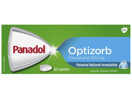 Panadol with Optizorb, Paracetamol Pain Relief, 12 Caplets