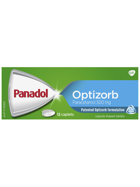 Panadol with Optizorb, Paracetamol Pain Relief, 12 Caplets