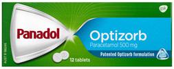 Panadol with Optizorb, Paracetamol Pain Relief Tablets, 12