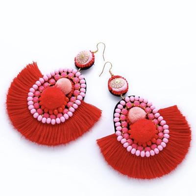 Paso Doble Fringe Earrings - Cherry Pie
