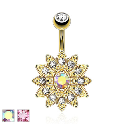 Paved Gems Flower CZ Navel Ring