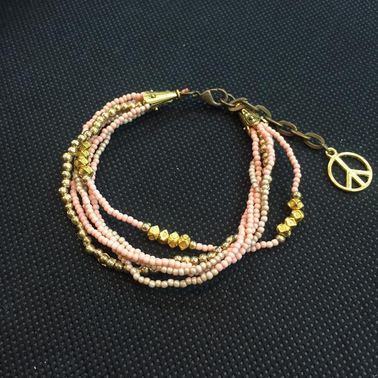 Peace Charm Bracelet - Apricot