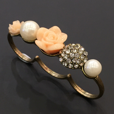 Peach Rose Triple Ring WAS $14
