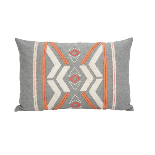 Peachee Cushion - Coral & Grey 35x55cm