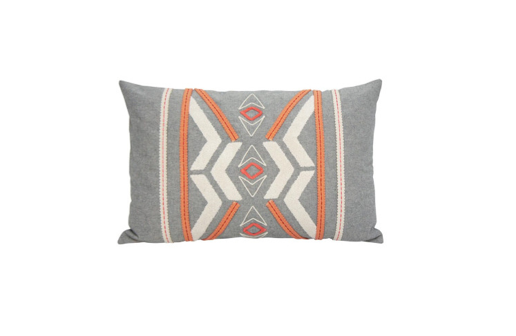 Peachee Cushion - Coral & Grey 35x55cm