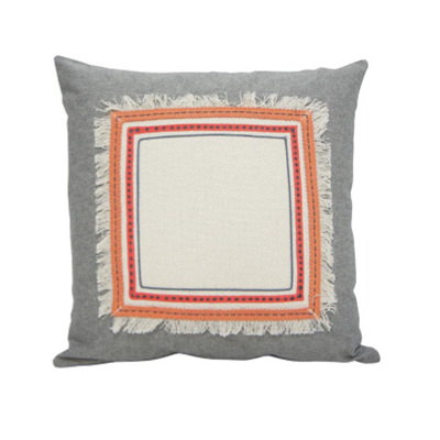 Peachee Cushion - Coral & Grey 45x45cm