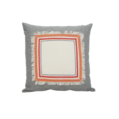 Peachee Cushion - Coral & Grey 45x45cm