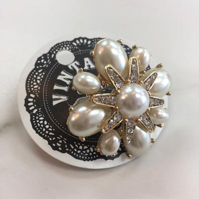 Pearl Diamante Flower Ring