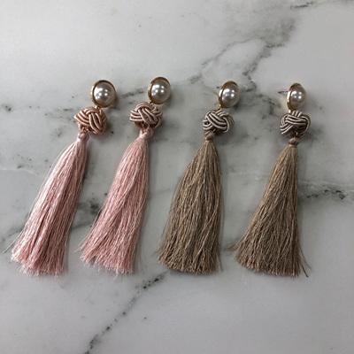 Pearl Tassel Knot Earrings