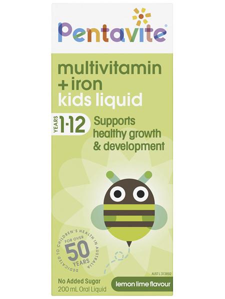 Pentavite Multivitamin + Iron Kids Liquid 200mL
