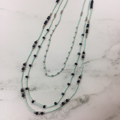 Pepper Crystal Layer Necklace - Mint