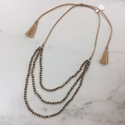 Petite Crystal Layered Necklace - Brass WAS $29.90