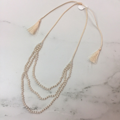 Petite Crystal Layered Necklace - Cream WAS $29.90