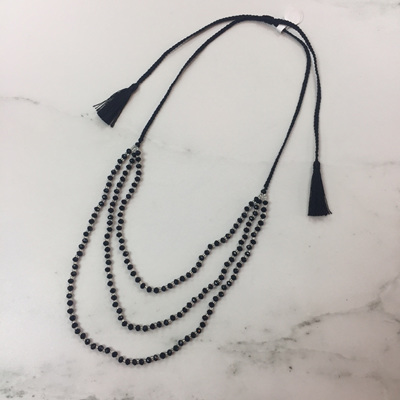Petite Crystal Layered Necklace - Midnight Black