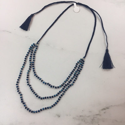 Petite Crystal Layered Necklace - Navy