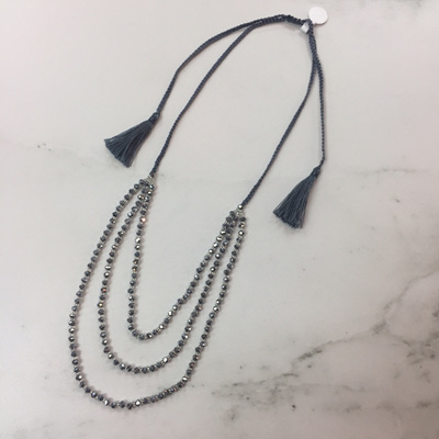 Petite Crystal Layered Necklace - Silver WAS $29.90