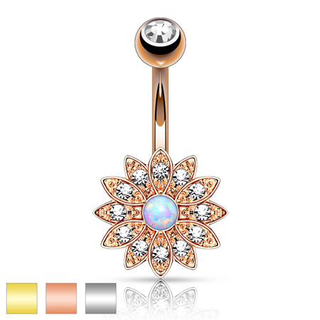 Petite Crystal Paved Flower w/ Opal Center Navel Ring