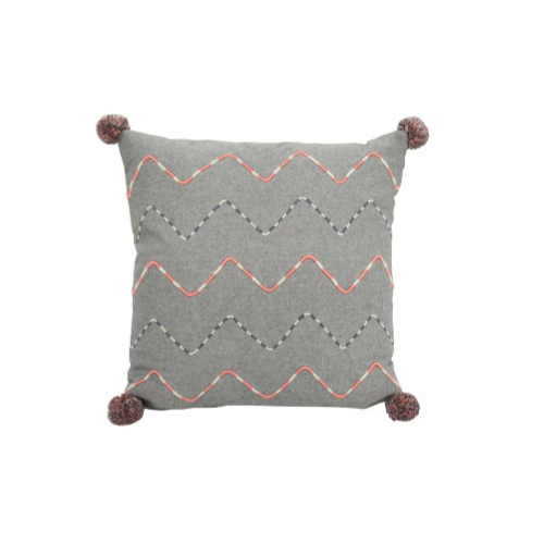 Petrie Cushion - Coral & Grey 45x45cm
