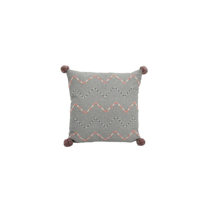 Petrie Cushion - Coral & Grey 45x45cm