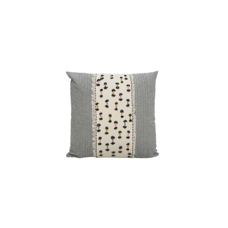 Petrie Cushion - Saffron Pink & Grey