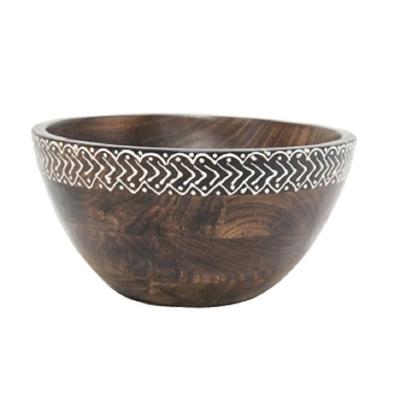 Peyak Wooden Bowl W Heena Work - 26cm