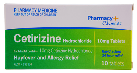 Pharmacy Choice -  Cetirizine Hayfever & Allergy Relief 10 Tablets