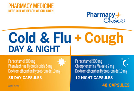 Pharmacy Choice -  Cold & Flu + Cough Day & Night PE 48 Capsules