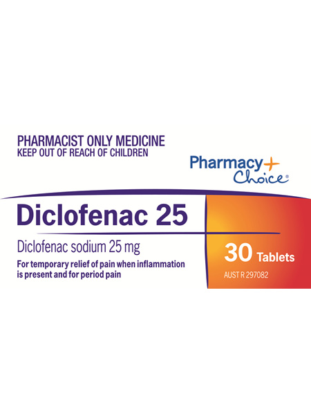 Pharmacy Choice -  Diclofenac 25 Tablets 30's