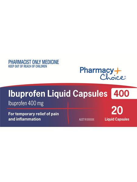 Pharmacy Choice -  Ibuprofen 400mg 20 Liquid Capsules