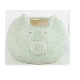 Piggy Ceramic Planter - Speckled White H10x17cm