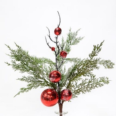 Pine Spray with Red Baubles