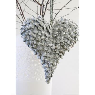 Pinecone Heart Lge w/Snow & Glitter