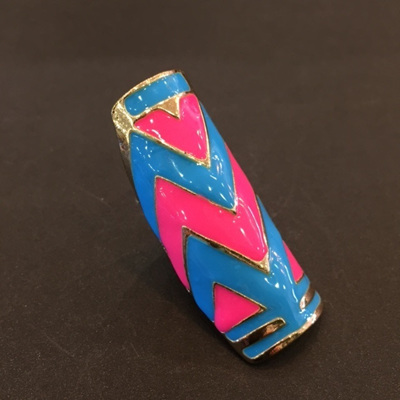Pink and Blue Chevron Cuff Ring