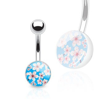 Pink Bloom Over Blue Print Clear Epoxy Navel