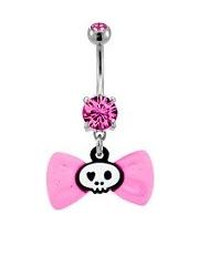 Pink Bow And Skull Navel Bar