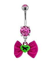 Pink Bow Navel With Stitched Green Heart