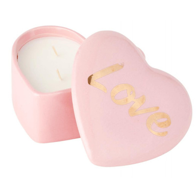 Pink Ceramic Heart Candle