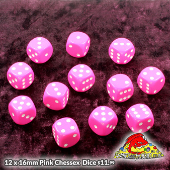 Pink Chessex Six Sided Dice