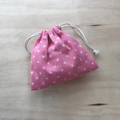 Pink Polka Dot Drawstring Pouch