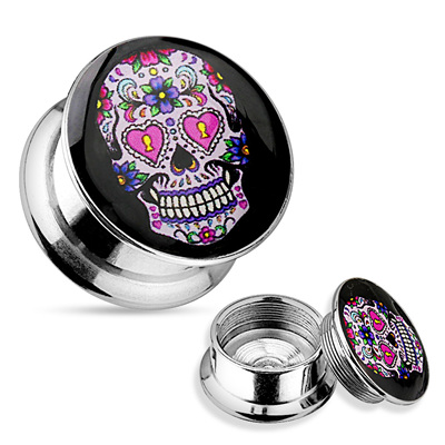 Pink Suger Skull Surgical Steel Screw Fit Plug