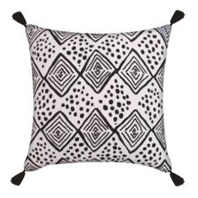 Pintoh Cushion W Tassels - Black/White 45x45cm