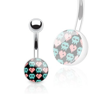 Pixel Skull and Hearts Print Clear Epoxy Navel Bar