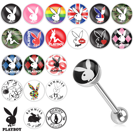 Playboy Bunny Logo Print Inlay 316L Surgical Steel Barbell