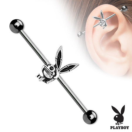 Playboy Bunny Skull Industrial Barbell