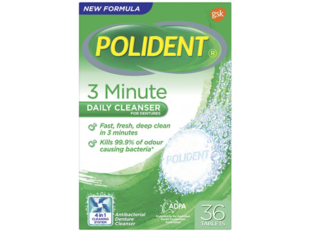 Polident Denture Cleanser 3 Minute Daily Tablets 36 Pack