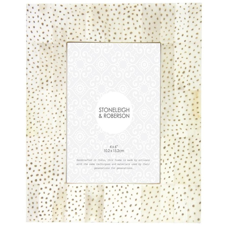 Polka Dot Bone Frame - White 4x6