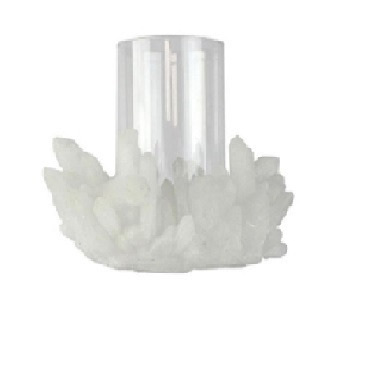 Poly Crystal Candle Holder - White 35cm